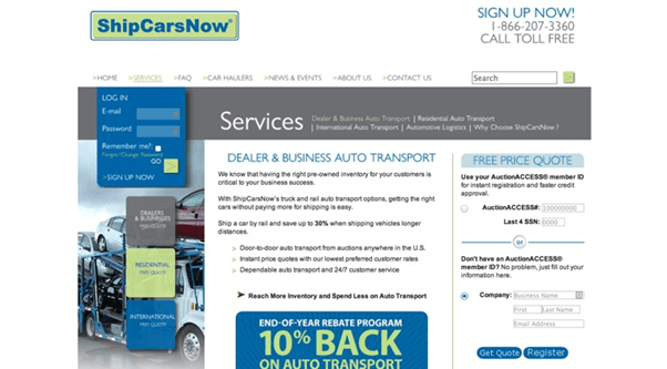 The Ship Cars Now landing page has seven CTAs; wrong thing to do.