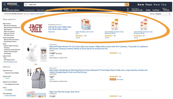 Amazon's ad products include sponsored products, sponsored brands, and multi-page stores