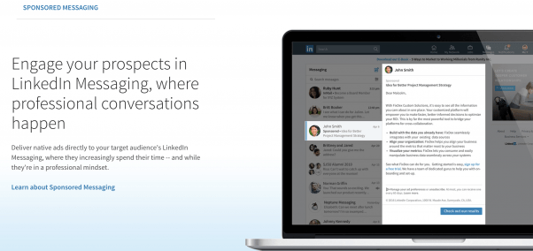 Sponsored InMail is where you pay to send a direct message to key decision-makers.